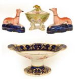 A pair of Staffordshire dogs, a Victorian pedestal bowl painted with floral sprays, and a covered