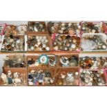 Sixteen boxes containing a large quantity of pewter, pottery, porcelain, copper, brass and other