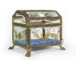 A Brass-Mounted Glass Casket, Possibly French, oblong and on paw feet, with twisted wire borders,
