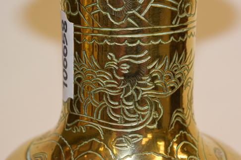A large early 20th century Japanese brass koro and cover on tri-form hardwood stand, a similar jar - Image 21 of 25