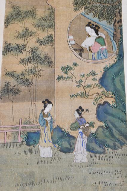 Six 20th century Chinese watercolour scrolls, five decorated with figures in landscapes and one - Image 7 of 18