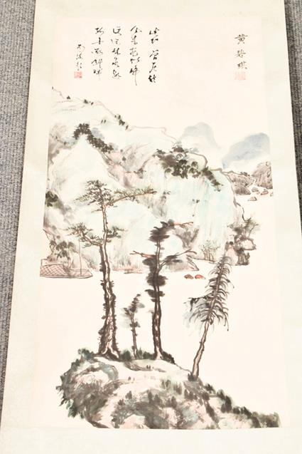 Five 20th century Chinese watercolour scrolls, decorated with landscapes, blossoms and - Image 9 of 15