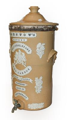 A Victorian sprigged stoneware Barstow's water filter, 60cm. The cover with crazing to the sprigging
