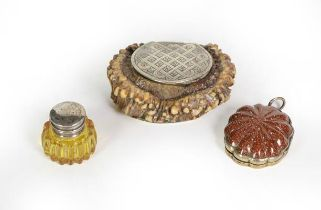 Three Metal-Mounted Vinaigrettes, one formed from an antler, the hinged cover engraved with