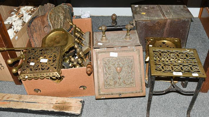A quantity of early 19th century and later brasswares including trivets, chimney ornaments,