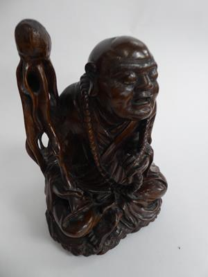 Five late 19th/early 20th century Chinese hardwood carvings, a fisherman, a nomad, water buffalo and - Image 2 of 22
