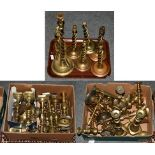 A selection of 19th century brass candlesticks (qty)