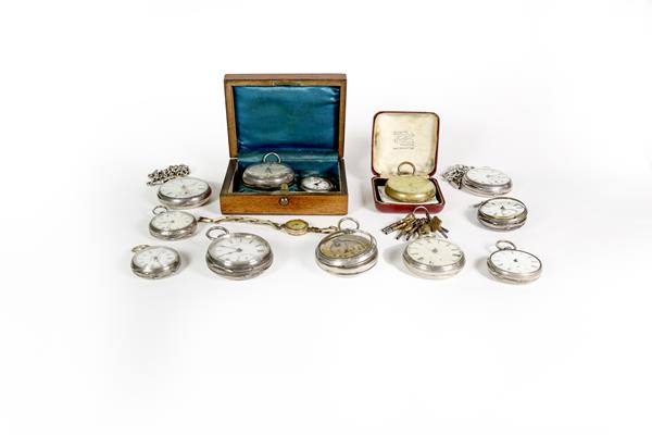 Eight silver open faced pocket watches, enamel dialled wristwatch, movement signed Rolex (case