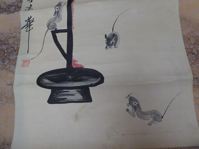 Six 20th century Chinese watercolour scrolls, five decorated with figures in landscapes and one - Image 13 of 18