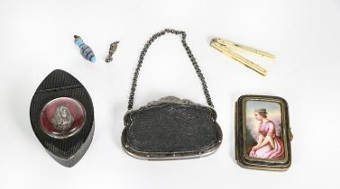 A Collection of Items, comprising: a carved composition snuff-box, the hinged cover set with a
