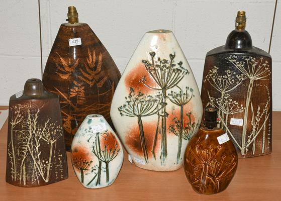 Six Tremaen Pottery Newlyn Cornwall lamp bases, two with impressed marks and one labelled, largest