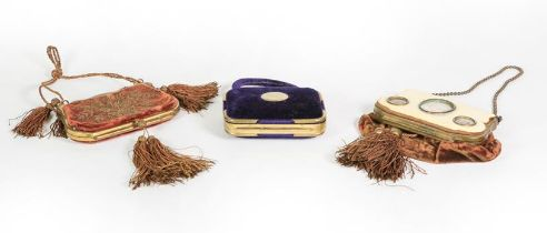 Three Brass-Mounted Velvet Purses, two cartouche shaped and with tassels, one stitched with