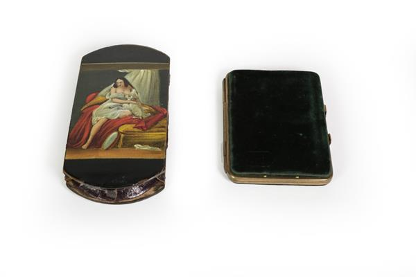 A Victorian Papier Mache Cheroot-Case, shaped oblong, the cover painted on one side with a lady