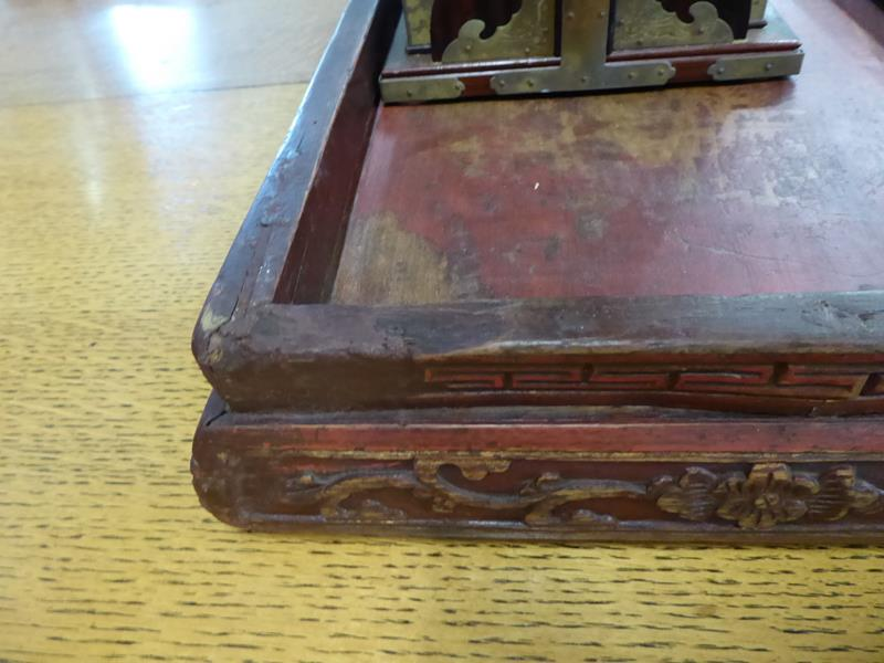 A 19th century Chinese rosewood three-tier picnic basket; together with a Chinese painted stand (2) - Image 14 of 15