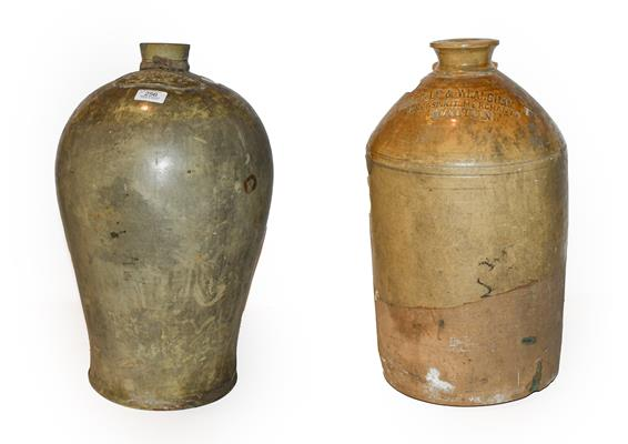 A 19th century baluster stoneware flagon, H Masterman of Thirsk, 50cm, together with another