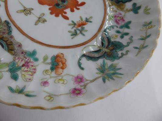 An early 20th century Chinese famille vert plate decorated with butterflies, a smaller famille - Image 8 of 15