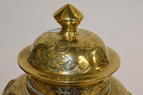 A large early 20th century Japanese brass koro and cover on tri-form hardwood stand, a similar jar - Image 10 of 25