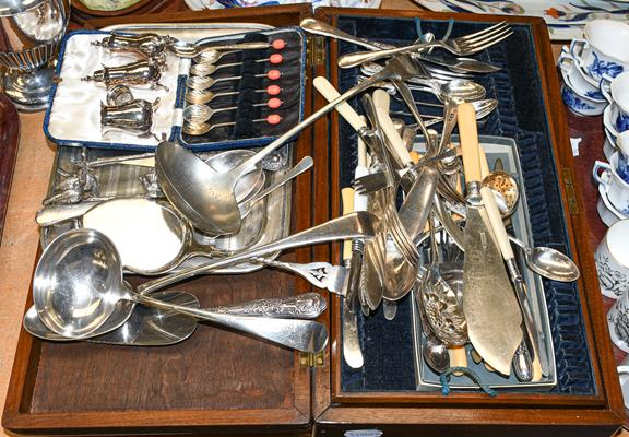 A part oak canteen of plated flatware and a group of plated hollow ware, and other items including a - Image 2 of 2