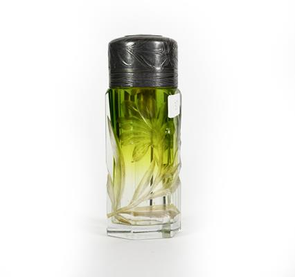 A Silver Plate Mounted Engraved Glass Atomiser, the glass body tapering from green to clear and