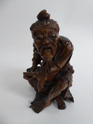 Five late 19th/early 20th century Chinese hardwood carvings, a fisherman, a nomad, water buffalo and - Image 7 of 22
