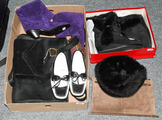 Assorted modern ladies' accessories, comprising a pair of purple suede Maude Frizon cowboy boots (