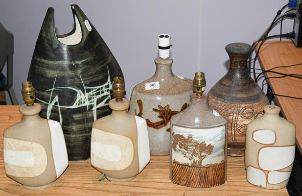 Six Cornish pottery table lamps and a Studio pottery vase (7)