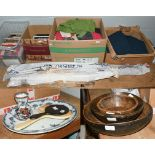 Assorted linen and textiles and other crafting items including four red dyed Welsh flannels, cushion