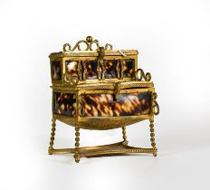 A Brass-Mounted Faux Tortoiseshell Box, in the form of a desk, hinged in two places which open to