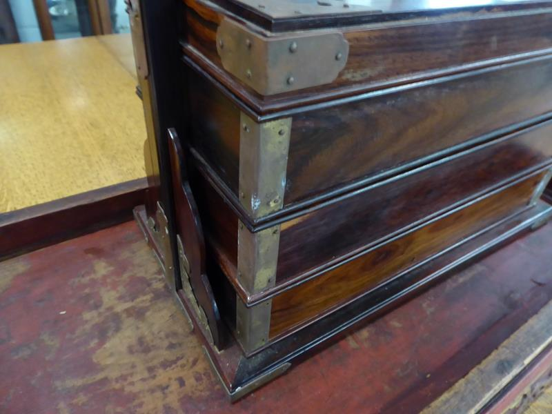 A 19th century Chinese rosewood three-tier picnic basket; together with a Chinese painted stand (2) - Image 9 of 15