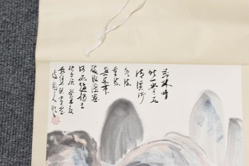 Five 20th century Chinese watercolour scrolls, decorated with landscapes, blossoms and - Image 14 of 15