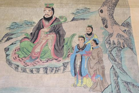 Six 20th century Chinese watercolour scrolls, five decorated with figures in landscapes and one - Image 5 of 18
