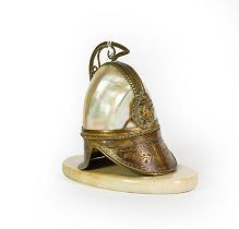 A Gilt-Metal and Shell-Mounted Watch-Stand, in the form of a helmet, the hinged cover opens to
