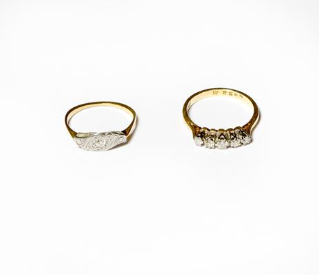A diamond five stone ring, the eight-cut diamonds in white claw settings, to a yellow tapered