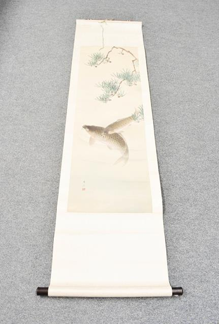 Five 20th century Chinese watercolour scrolls, decorated with landscapes, blossoms and - Image 5 of 15