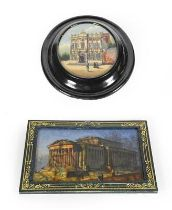 Two reverse painted glass pictures, one oval depicting the Maison Rubens, in black painted frame,