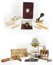 A Collection of Assorted Items, including: a gilt-metal stand, the back and base each with a