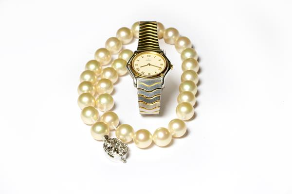 Ebel lady's steel quartz wristwatch, and a simulated pearl necklace with 9 carat clasp - Image 2 of 2