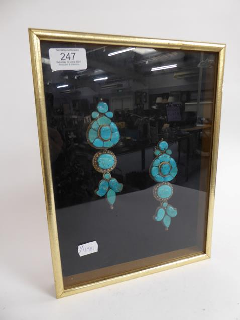 A pair of cased Indo-Persian white metal mounted turquoise three-piece sectional ornamental earrings - Image 6 of 9