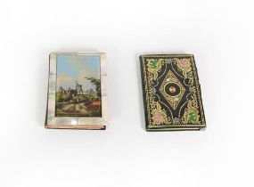 A Victorian Mother-of-Pearl and Papier Mache Aide Memoire, oblong, the cover with a reverse