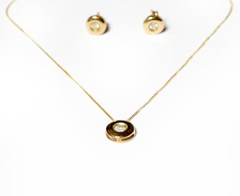 A diamond solitaire pendant on chain, pendant length 0.9cm, chain length 46.5cm; and a pair of