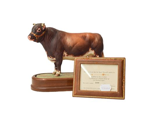 A Royal Worcester 'Dairy Shorthorn Bull' modelled by Doris Lindsner, with certificate, no 388 of