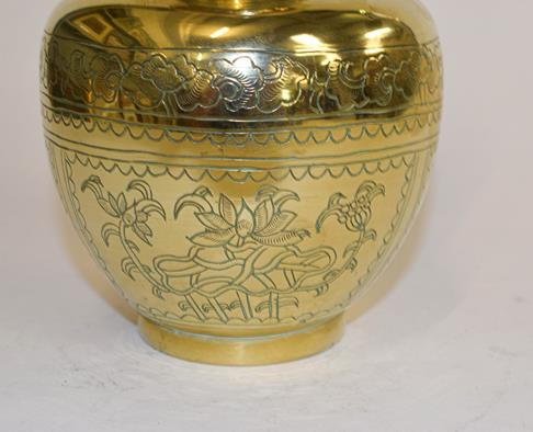A large early 20th century Japanese brass koro and cover on tri-form hardwood stand, a similar jar - Image 16 of 25