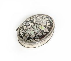 A George II Silver and Mother-of-Pearl Inlaid Tortoiseshell Box, Apparently Unmarked, Circa 1730,