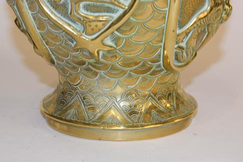 A large early 20th century Japanese brass koro and cover on tri-form hardwood stand, a similar jar - Image 12 of 25