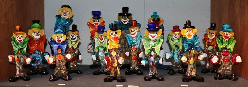 Seventeen Murano and Murano style clowns