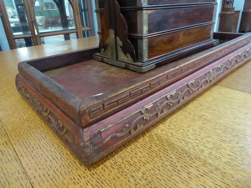 A 19th century Chinese rosewood three-tier picnic basket; together with a Chinese painted stand (2) - Image 12 of 15