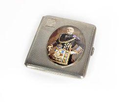 An Elizabeth II Silver and Enamel Masonic Card-Case, by A. E. Poston and Co. Ltd., Birmingham, 1957,
