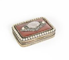 A Gilt-Metal Snuff-Box, oblong, the hinged cover set with an agate panel and with a 'pearl' set