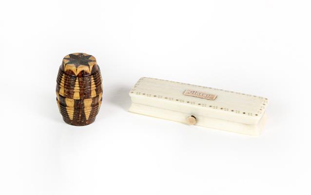 A Georgian pique decorated bone toothpick case and a Tunbridgeware barrel shaped thread waxer (2)
