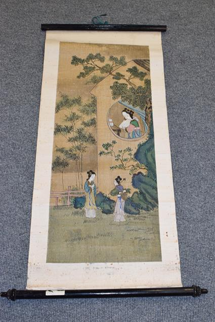 Six 20th century Chinese watercolour scrolls, five decorated with figures in landscapes and one - Image 6 of 18